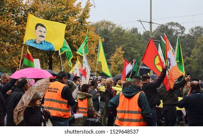 The Hague, The Netherlands - October 12, 2019: Portrait of Ocalan at a Kurdish protest against the Turkish invasion of northern Syria in The Hague, The Netherlands on October 12, 2019