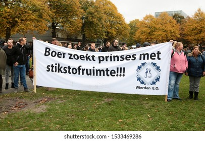 The Hague, The Netherlands - October 16, 2019: For the second time this month farmers are protesting for  independent measurements of  nitrogen (farmer is looking for princess with room for nitrogen)
