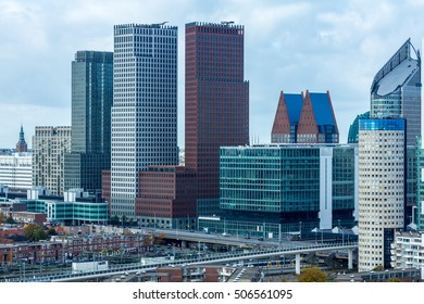The Hague , the Netherlands - October 29, 2016: Tall buildings of The Hague, the Netherlands