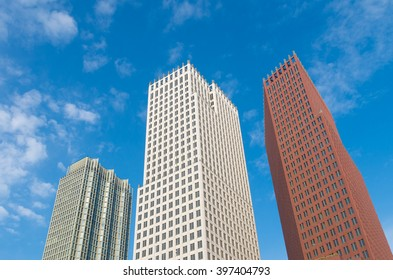 THE HAGUE, NETHERLANDS - OCTOBER 3, 2015: Modern skyscrapers in the city center of The Hague. The Dutch government and parliament are located in the city, and it is the residence of the royal family