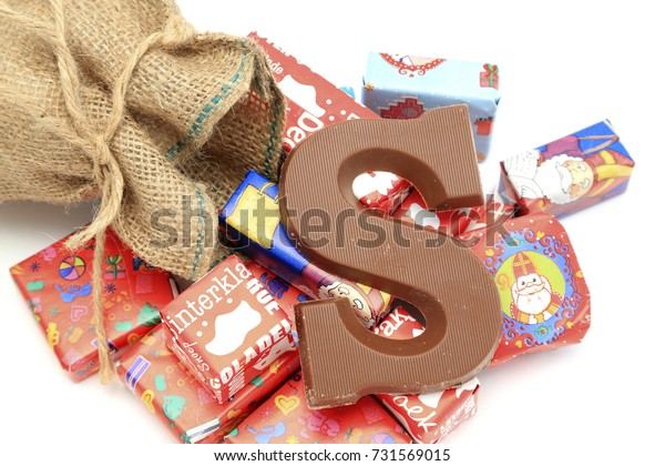 The Hague, The Netherlands - October 5, 2017:Traditional chocolate initial and presents for the celebration of Sinterklaas,a dutch holiday on december the fifth