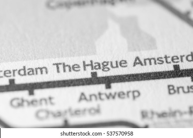 The Hague, Netherlands on a geographical map.