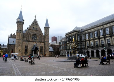 The Hague in Netherlands on Sep. 3, 2019. View of Binnenhof (Inner court) - 13th century complex of buildings in the city center of Den Haag (The Hague).