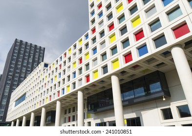 THE HAGUE, NETHERLANDS - SEPTEMBER 13, 2014: Modern school building exterior. The Mondriaan secondary school offers almost 200 training courses for 12 different professional sectors