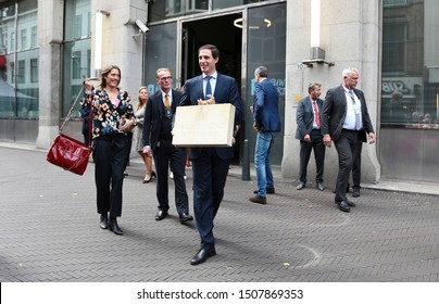 The Hague, The Netherlands - September 17, 2019: Minister of Finance Wopke Hoekstra holding the briefcase with the government budget during Prinsjesdag, opening of the parliamentary year in Holland