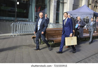 The Hague, The Netherlands - September 19, 2017: Minister of Finance Jeroen Dijsselbloem, during Prinsjesdag, the opening of the new parliamentary year holding the briefcase with the government budget