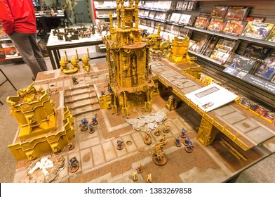 HAGUE, THE NETHERLANDS: Toy castle and pastic wariors for tabletop role-playing game, RPG toys for children on April 6, 2018. Hague is one of major cities hosting the United Nations