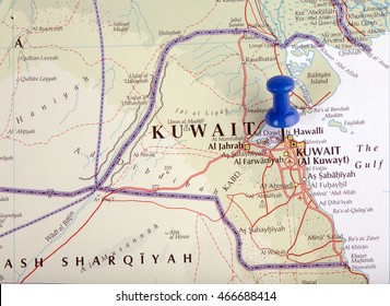 the hague, Netherlands-august 10, 2016: Map of Kuwait with pushpin illustrative editorial