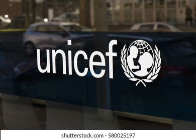 The Hague, Netherlands-februari 15, 2017:Letters Unicef on the Dutch Headquarter in the Hague