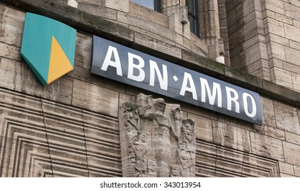 the Hague, Netherlands-november 24, 2015: Letters of the ABN AMRO bank on a facade in the hague
