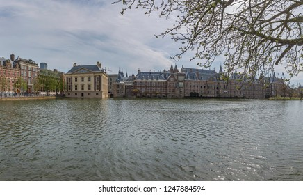 The Hague - Panorama View to the Binnenhof with the Mauritshuis, a Noble Palace and since 1822 a museum that houses the Royal Picture Gallery, South Holland, Netherlands, The Hague, 17.04.2018