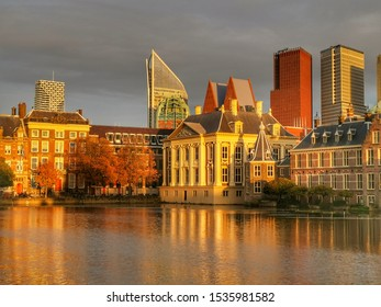 The Hague Parliament Houses Binnenhof and Mauritshuis reflected
