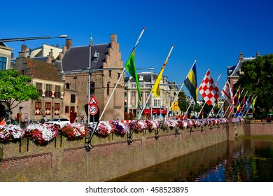 The hague provinces flags/ Flags in the Hague/ The Hague, The Netherlands - July 19, 2016: Flags of all provinces in the Netherlands in the Hague with flowers, people and clear sky