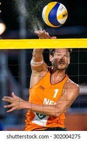 THE HAGUE - Reinder Nummerdor during the World Cup Beach Volleyball in the Netherland