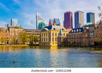The Hague skyline, landscape of central Hague, Netherlands