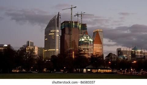 The Hague skyline reflected at dusk