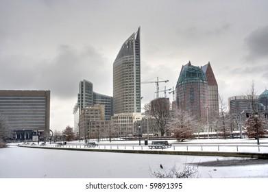 The Hague skyline with snow