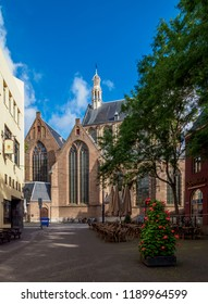 THE HAGUE, SOUTH HOLLAND, THE NETHERLANDS - JULY 31, 2017: Grote of Sint-Jacobskerk, St. James Church.