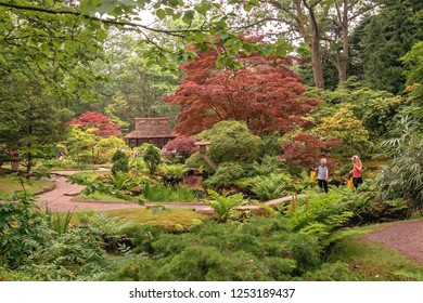 THE HAGUE, SOUTH HOLLAND / THE NETHERLANDS - MAY 30, 2018: Children in the magical Clingendael Japanese garden in spring