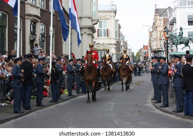The Hague, South Holland, The Netherlands, September 16, 2008. Queen Beatrix, accompanied by other members of the Royal House, leaves Noordeinde Palace in the Golden Coach for the Binnenhof.