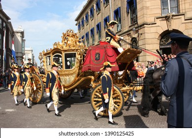 The Hague, South Holland, The Netherlands, September 16, 2008 The golden carriage with Queen Beatrix on Prinsjesdag (opening of the parliamentary year)in Den Haag, Zuid Holland, Nederland.