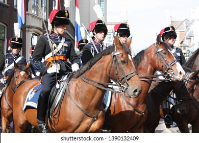 The Hague, South Holland, The Netherlands, September 16, 2008. Cavalry riding at Prinsjesdag (annual presentation of Government Policy to Parliament by Queen Beatrix) in Noordeinde street in Den Haag.