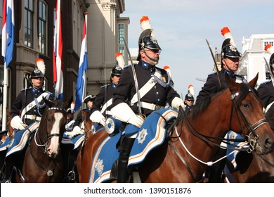 The Hague, South Holland, The Netherlands, September 16, 2008. The Royal military troop escorted the Golden Carriage started from Noordeinde Palace to the Hall of Knights during Prinsjesdag.