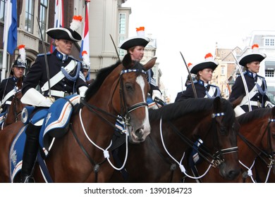 The Hague, South Holland, The Netherlands, September 16, 2008. The female Cavalry accompanying the Golden Coach with Queen Beatrix on Prinsjesdag procession in Den Haag, Zuid Holland, Nederland.
