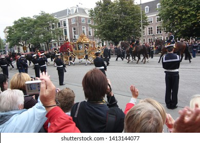 The Hague, South Holland, The Netherlands, September 15, 2009 The golden carriage with Queen Beatrix on Prinsjesdag (opening of parliamentary year by Queen) in Den Haag, Zuid Holland, Nederland.