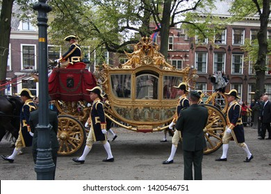 The Hague, South Holland, The Netherlands, September 15, 2009 Queen Beatrix on the Golden Carriage on Prinsjesdag, which is held every year on the third Tuesday in September in Den Haag, Nederland.