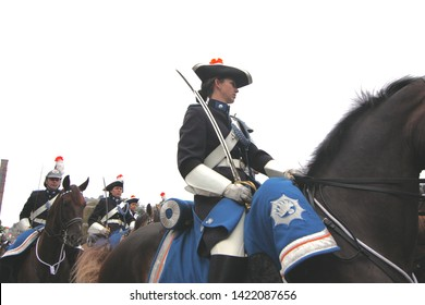 The Hague, South Holland, The Netherlands, September 15, 2009. Female Cavalry Soldiers on horses on Prinsjesdag annual presentation of Government Policy to Parliament by Queen Beatrix in Den Haag.