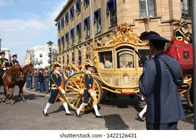 The Hague, South Holland, The Netherlands, September 16, 2008. The golden carriage with Queen Beatrix on Prinsjesdag (opening of parliamentary year by the Queen) in Den Haag, Zuid Holland, Nederland.
