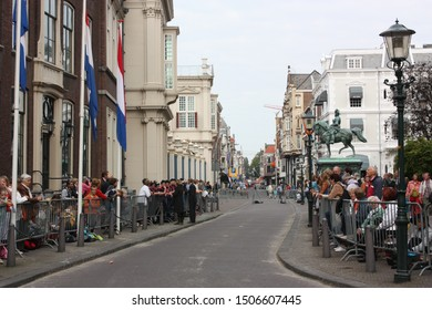 The Hague, South Holland, The Netherlands, September 16, 2008. People were gathering alongside Noordeinde street in Den Haag waiting for the Golden Coach with Queen Beatrix in Prinsjesdag procession.