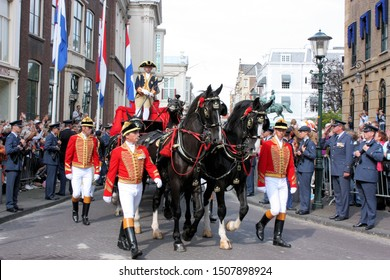 The Hague, South Holland, The Netherlands, September 16, 2008. The Golden Carriage with Queen Beatrix on the way to the Hall of Knights at Prinsjesdag (Day of the Princes),