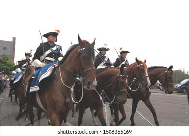 The Hague, South Holland, The Netherlands, September 15, 2009. Female cavalry soldiers riding at the Parliament on Prinsjesdag (annual presentation of Government Policy to Parliament by Queen Beatrix.