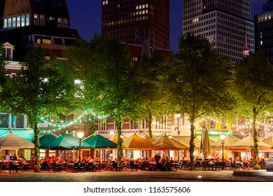 The Hague, South-Holland / The Netherlands - 05-11-2015 Het Plein (The Square) in the center of The Hague at night with offices and apartments on the background.