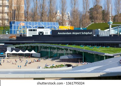 THE HAGUE, TH NETHELANDS - OCTOBER 15, 2014: Model of Amsterdam airport Schiphol in miniature park Madurodam