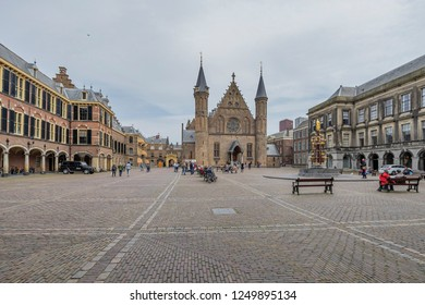 The Hague - View to the Binnenhof, which was surrounded by canals and limited in the north by the Hofvijver, the castle pond, South Holland, Netherlands, The Hague, 17.04.2018