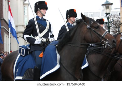 The Hague, Zuid Holland, The Netherlands, September 16, 2008. The female Cavalry accompanying the Golden Coach with Queen Beatrix on Prinsjesdag procession in the Hague, South Holland, Netherlands.