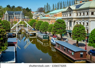 HAGUE/NETHERLANDS- April 19, 2018: Amsterdam channels in the Madurodam miniature park.