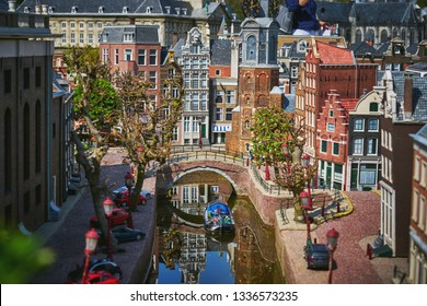 HAGUE/NETHERLANDS- April 19, 2018: Amsterdam streets in the Madurodam miniature park.