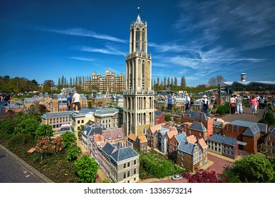 HAGUE/NETHERLANDS- April 19, 2018: The Dom Tower of Utrecht in the Madurodam miniature park.