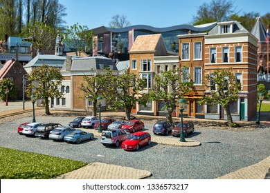 HAGUE/NETHERLANDS- April 19, 2018: Holland residential district in the Madurodam miniature park.