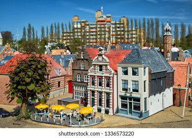 HAGUE/NETHERLANDS- April 19, 2018: Holland houses in the Madurodam miniature park.