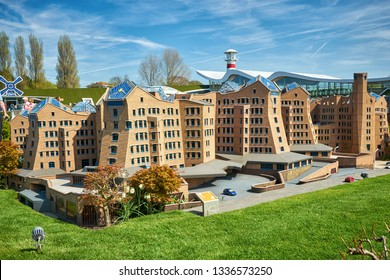 HAGUE/NETHERLANDS- April 19, 2018: The ING headquarter in the Madurodam miniature park.
