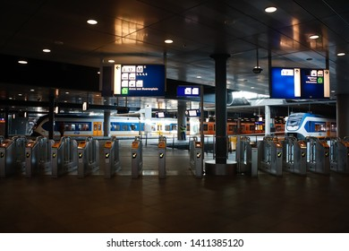The Hague,Netherlands,May 28 2019:Public transportation NS train strike in Holland effected the daily commuters to reach their destination