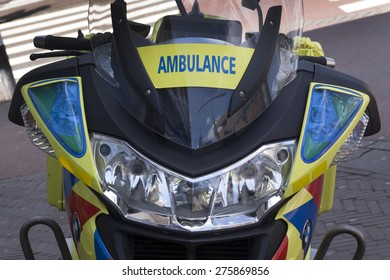 the hague,netherlands-may 7, 2015: Motor ambulance in the streets of a city, at the site of an emergency