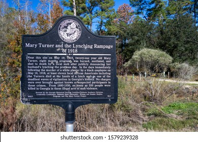 Hahira, Georgia - November 30, 2019: A bullet-riddled sign marks the spot where 21-year-old Mary Turner was brutally murdered in 1918 by a local mob after publicly denouncing her husband's lynching.