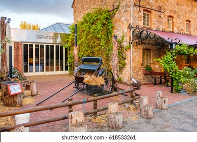 Hahndorf, South Australia - April 9, 2017: Horse drawn car near Old Mill Hotel of Hahndorf in Adelaide Hills area during autumn season