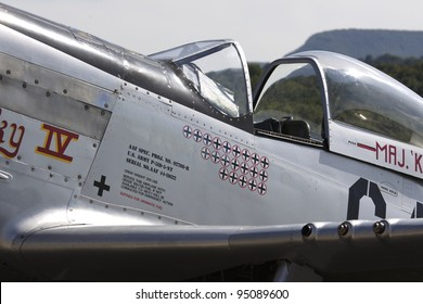 HAHNWEIDE AIRBASE, GERMANY - SEPTEMBER 04: P-51 Mustang historic fighter plane is demonstrated on the flight lane during Autumn Air Show on September 04, 2011 in Hahnweide, Germany